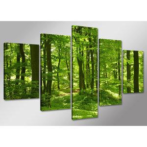 Schilderij - Bos, groen,    100x50 cm.  5 luik, wanddecoratie