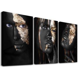 Schilderij - Gezicht bladgoud vrouw,    120x80 cm.  3 luik, wanddecoratie