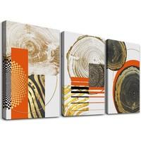 Schilderij - Houtnerf in abstracte vormen,    120x80 cm.  3 luik, wanddecoratie