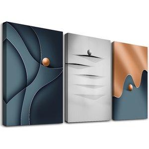 Schilderij - Modern abstract, blauw/grijs/brons, 120x80 cm.  3 luik, wanddecoratie