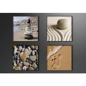 Schilderij - Strand en inspiratie, Zen,   4x 20cm.  4 delen, wanddecoratie