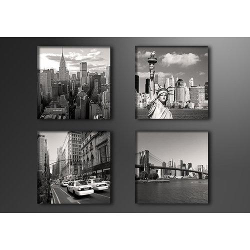 Schilderij - New York City, USA,   4x 20cm.  4 delen, wanddecoratie