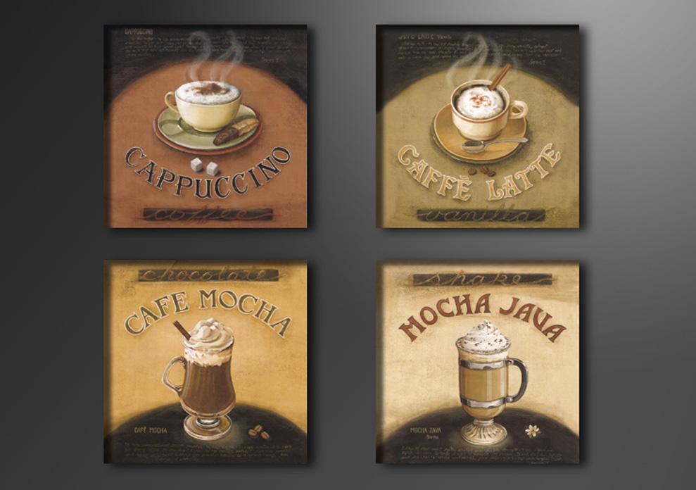 Schilderij - 4 soorten koffie, 4x 20cm. 4 delen, wanddecoratie