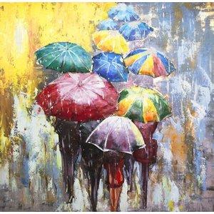 Schilderij - Metaalschilderij - In de regen met prachtige kleuren ,handgeschilderd op metaal 3D 100x100cm