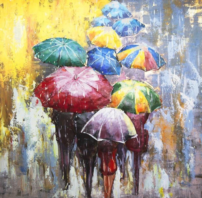 Schilderij - Metaalschilderij - In de regen met prachtige kleuren ,handgeschilderd op metaal 3D 100x