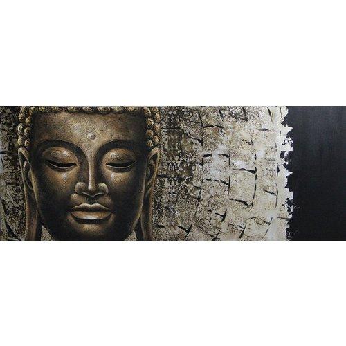 Schilderij - Handgeschilderd - Het gezicht van Boeddha, 150x60cm