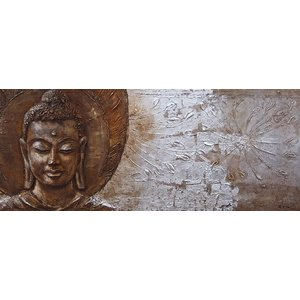 Schilderij - Handgeschilderd - Het gezicht van Boeddha II, 150x60cm