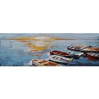 Schilderij - Handgeschilderd - Roeiboten en zonsondergang, 150x60cm