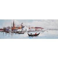 Schilderij - Handgeschilderd - Romantiek in Venetië, 150x60cm