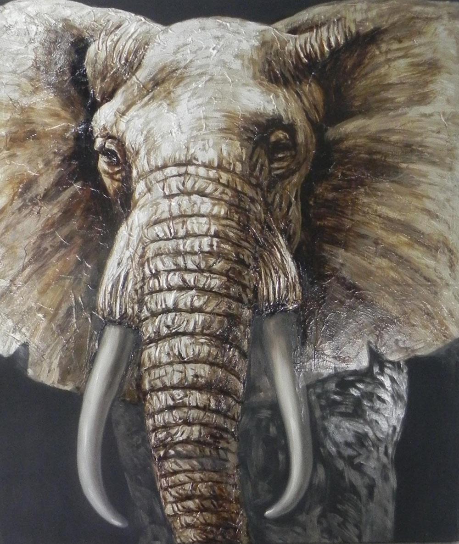 Schilderij - Handgeschilderd - Olifant in close up, olieverf, 100x100 cm.