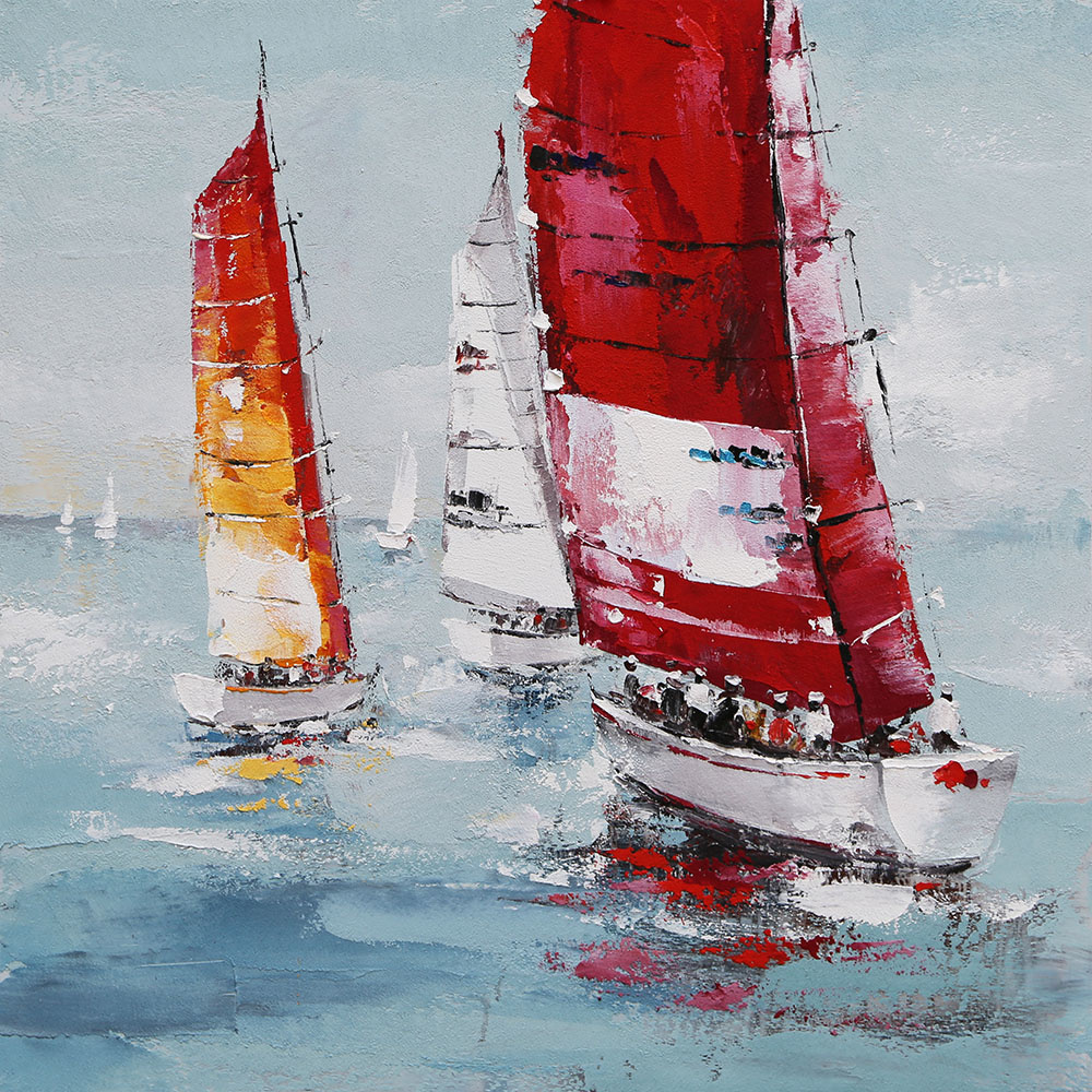 Schilderij - Handgeschilderd - Zeilboten op zee, olieverf, 100x100 cm.