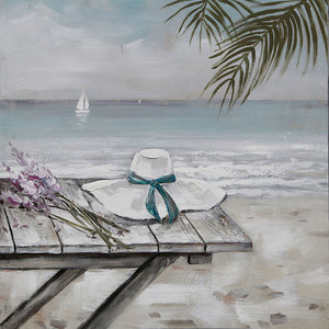 Schilderij - Handgeschilderd - Eenzaam op het strand, olieverf, 100x100 cm.