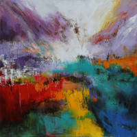 Schilderij - Handgeschilderd - Explosie van kleuren, olieverf, 100x100 cm.