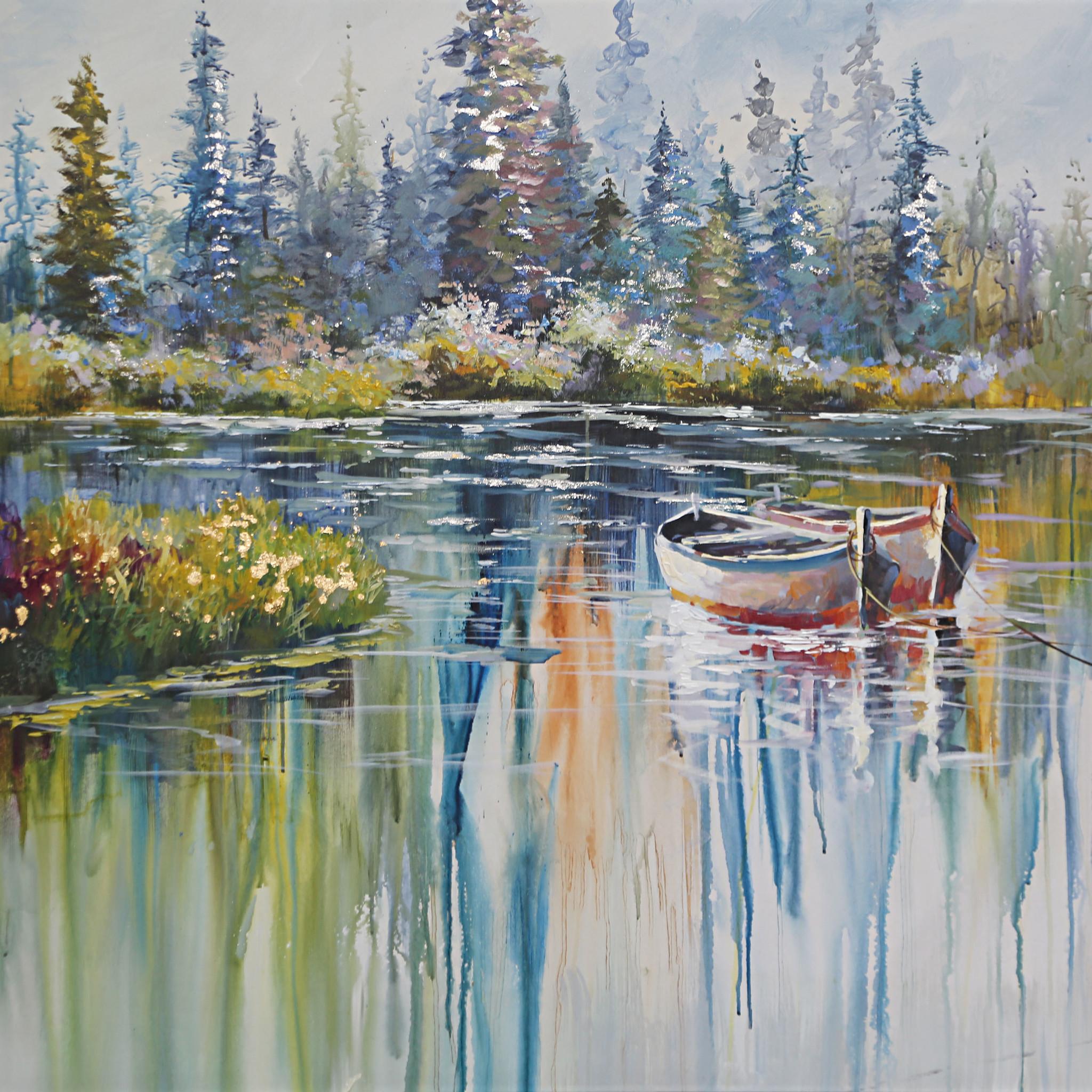 Schilderij - Handgeschilderd - In alle rust, boten op de rivier, olieverf, 100x100 cm.