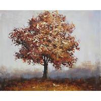 Schilderij - Handgeschilderd - Boom, in alle eenzaamheid, olieverf, 100x100 cm.