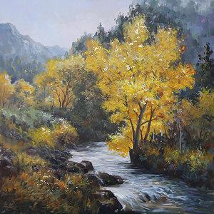 Schilderij - Handgeschilderd - Waterval door het bos, Olieverf, 100x100 cm.