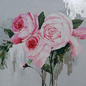 Schilderij - Handgeschilderd - Pioenrozen, roze, Olieverf, 100x100 cm.