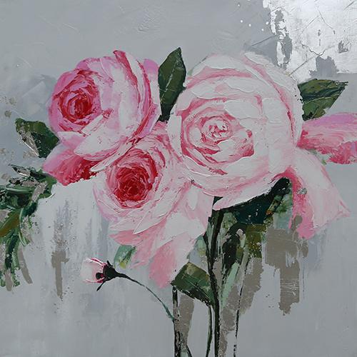 -21% SALE | Schilderij - Handgeschilderd - Pioenrozen, roze, Olieverf, 100x100 cm. -  1 luik