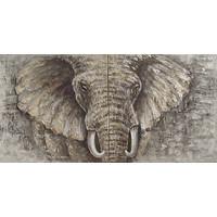 Schilderij - Handgeschilderd - Olifant op olieverf, 2 delen, 3 maten