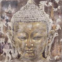 Schilderij - Handgeschilderd - Boeddha in sereniteit, Olieverf, 100x100 cm.