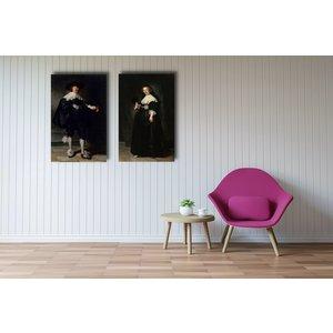 Karo-art Rembrandt van Rijn - Marten Soolmans en Opjen Coppit, set van 2 schilderijen, 90x60cm per schilderij, wanddecoratie