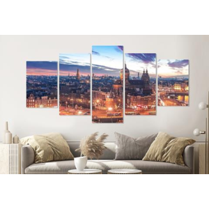 Karo-art Schilderij - Nacht skyline  centrum van Amsterdam, premium print, 5 luik, 200x100cm