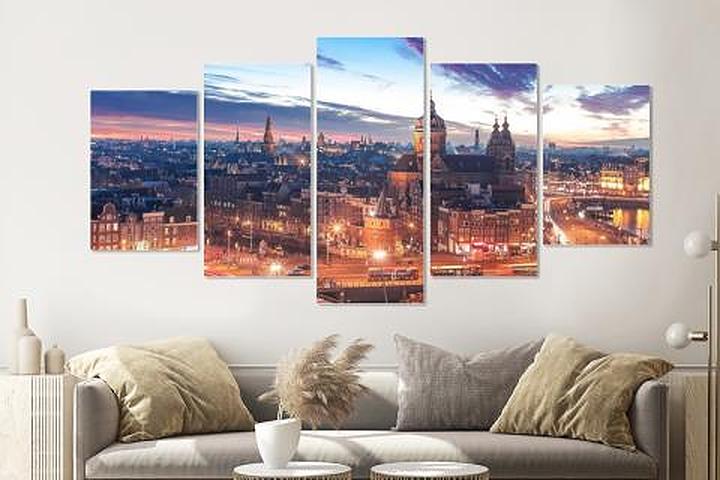 Schilderij - Nacht skyline centrum van Amsterdam, premium print, 5 luik, 200x100cm