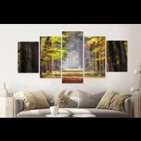 Karo-art Schilderij - Ochtendwandeling in het bos , 5 luik, 200x100cm