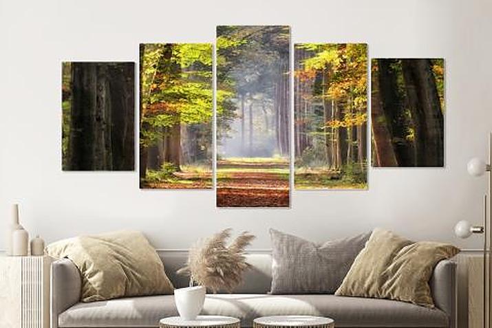 Schilderij - Ochtendwandeling in het bos , 5 luik, 200x100cm