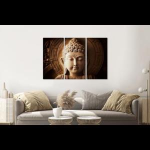 Karo-art Schilderij - Mijmerende Boeddha, 3 luik, 120x80cm  premium print