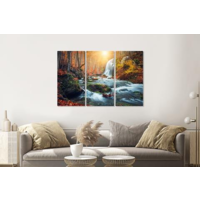 Karo-art Schilderij - Waterval in bos, herfst, 3 luik, 120x80cm  premium print