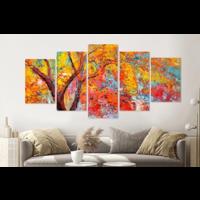 Karo-art Schilderij - Park in de herfst (print op canvas van olieverf, modern Impressionisme), 5 luik, 200x100cm