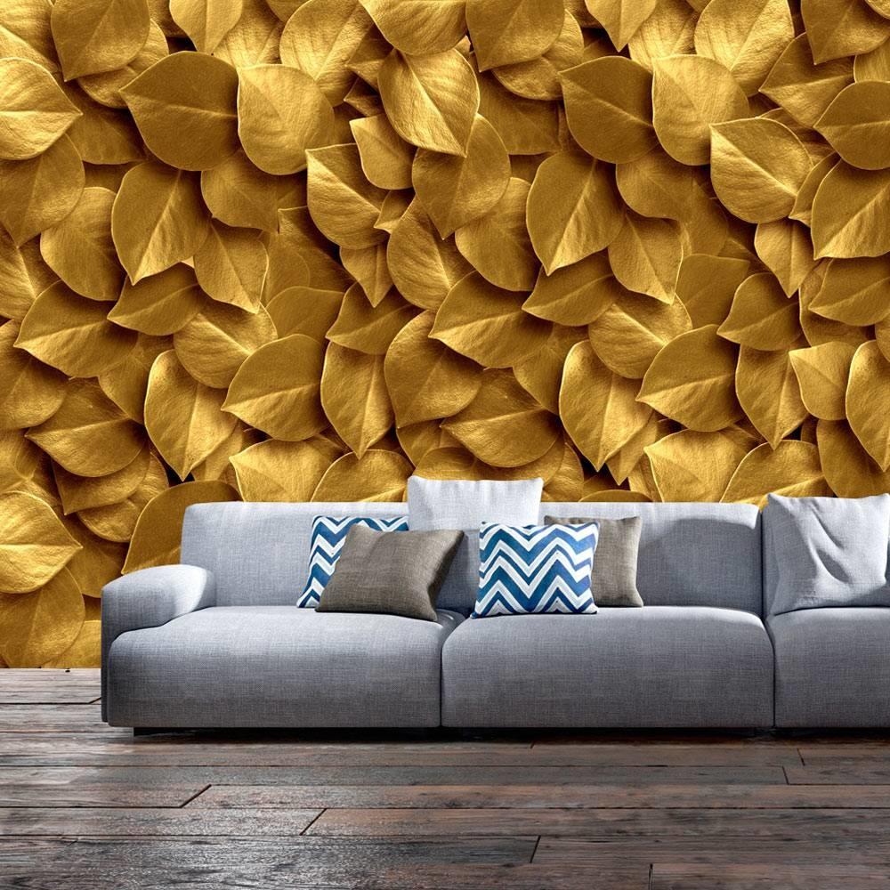 -30% SALE   Fotobehang - Gouden bladeren , 350x245cm