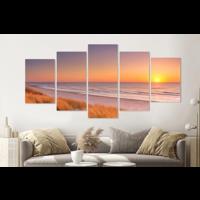 Karo-art Schilderij - Duinen en strand bij zonsondergang, 5 luik, 200x100cm