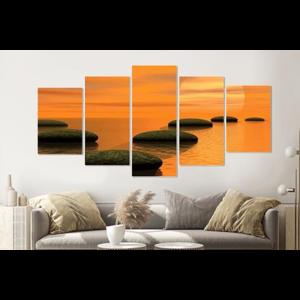 Karo-art Schilderij - Zen zonsondergang, 5 luik, 200x100cm, wanddecoratie
