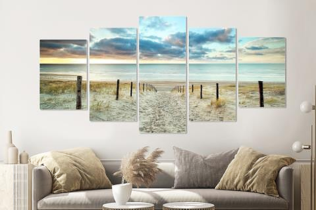 Schilderij - Duik in de Noordzee, 5 luik, 200x100cm, wanddecoratie