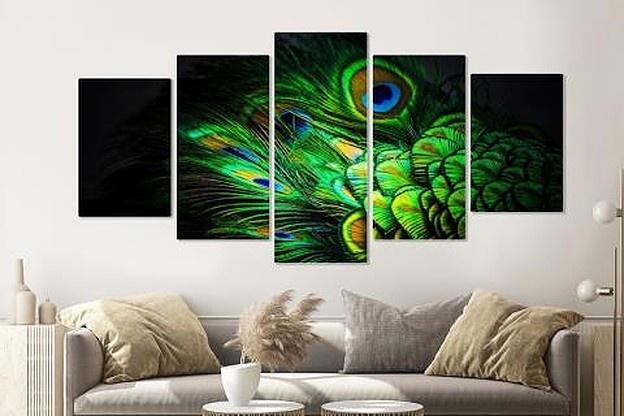 Schilderij - Pauw Veren, 5 luik, 200x100cm, wanddecoratie