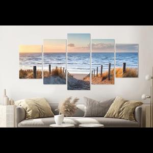 Karo-art Schilderij - Pad naar de Noordzee, 5 luik, 200x100cm, wanddecoratie