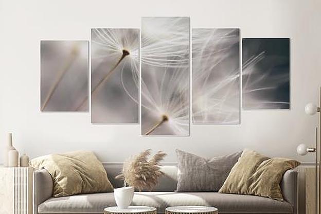 Schilderij - Paardenbloemen in de wind, 5 luik, 200x100cm, wanddecoratie