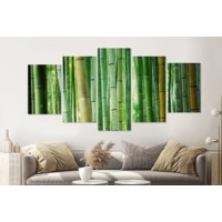 Karo-art Schilderij - Bamboe, 5 luik, 200x100cm, wanddecoratie, premium print
