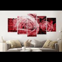 Karo-art Schilderij - Rode rozen op bakstenen muur, 5 luik, 200x100cm, wanddecoratie