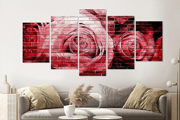 Schilderij - Rode rozen op bakstenen muur, 5 luik, 200x100cm, wanddecoratie