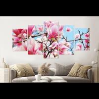 Karo-art Schilderij - Roze magnolia in volle bloei, 5 luik, 200x100cm