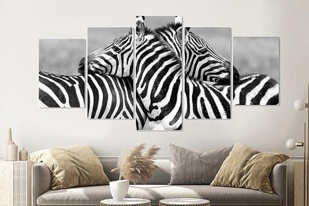 Schilderij - Zebra liefde in zwart en wit, 5 luik, 200x100cm