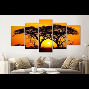 Karo-art Schilderij - Zonsondergang in Afrika, 5 luik, 200x100cm