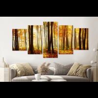 Karo-art Schilderij - Bos in de herfst, 5 luik, 200x100cm , premium print