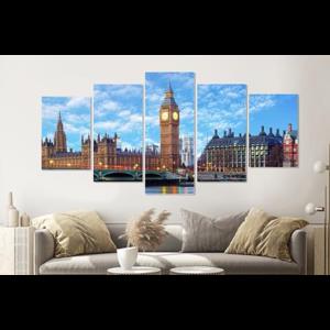 Karo-art Schilderij - Big Ben, Londen, 5 luik, 200x100cm , premium print