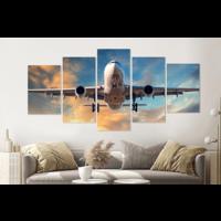 Karo-art Schilderij - Dalend vliegtuig, 5 luik, 200x100cm , premium print