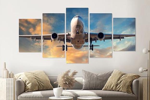 Schilderij - Dalend vliegtuig, 5 luik, 200x100cm , premium print