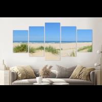 Karo-art Schilderij - Tussen de duinen, 5 luik, 200x100cm , premium print